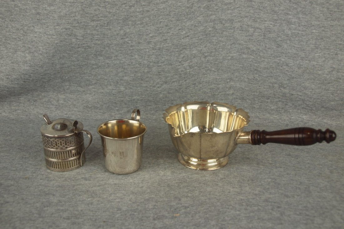Sterling silver mustard pot with glass insert, mug and