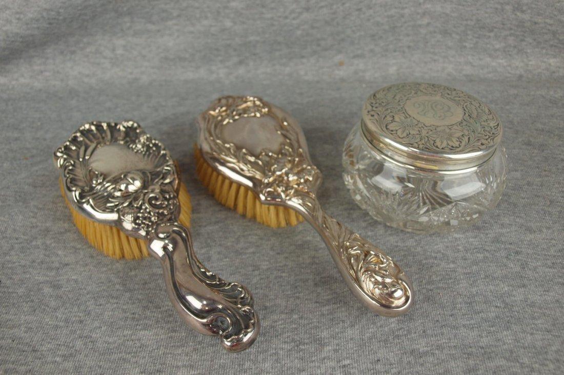 Sterling silver Art Noveau hair brush, silver Art