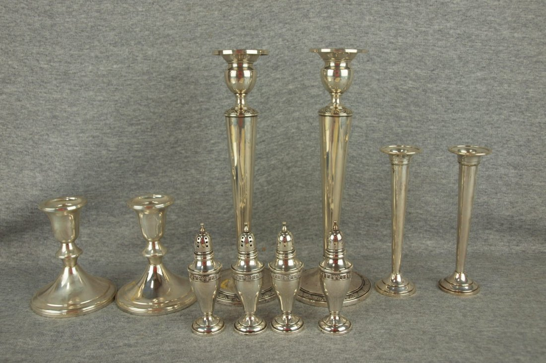 Sterling silver lot of 2 pair of candle holders, pair