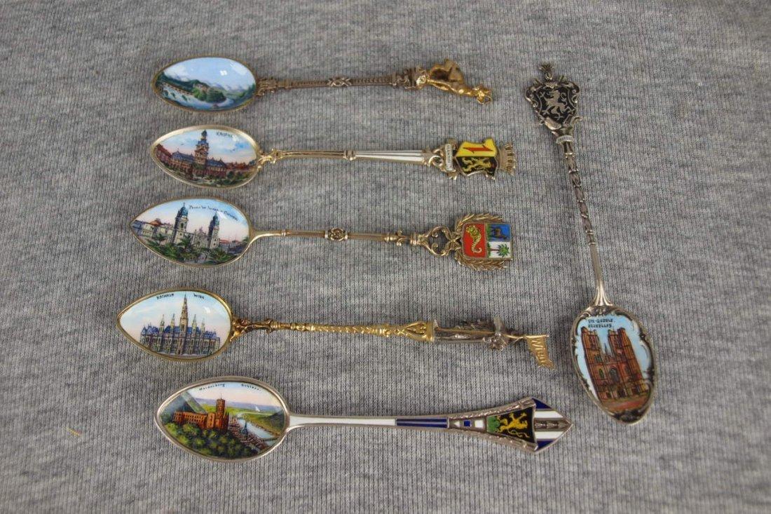 Set of 6 European souvenir spoons with pictorial enamel