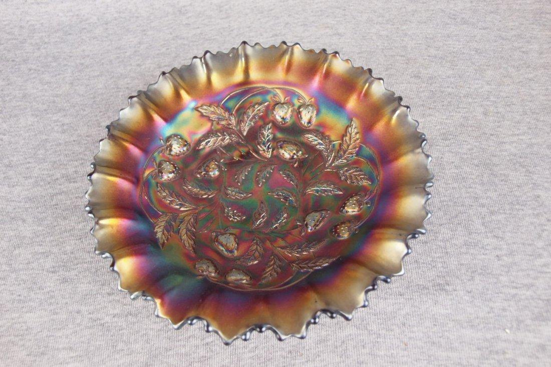 Northwood amethyst carnival glass strawberry bowl, 8