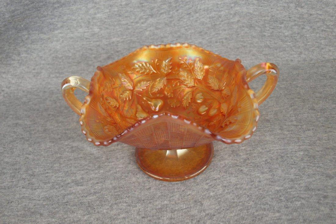 Fenton marigold carnival glass three fruits compote