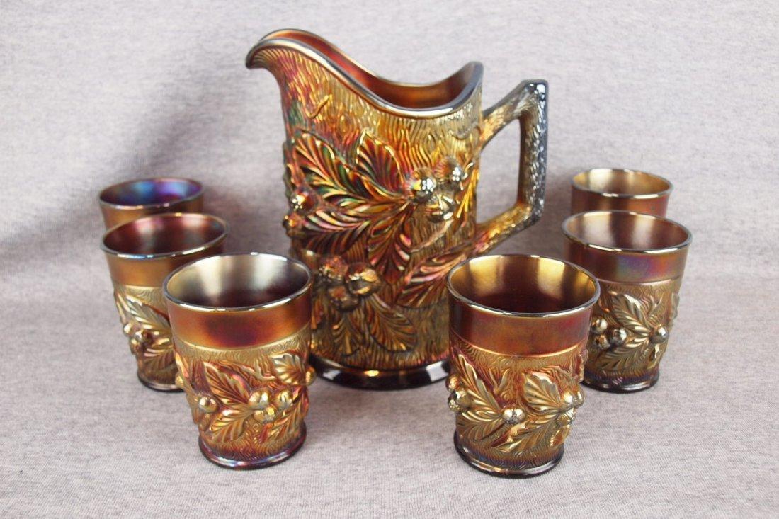 Northwood amethyst carnival glass 7 piece water set,