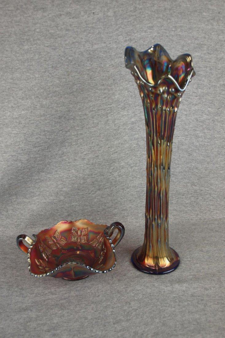 Fenton amethyst carnival glass butterfly bonbon and