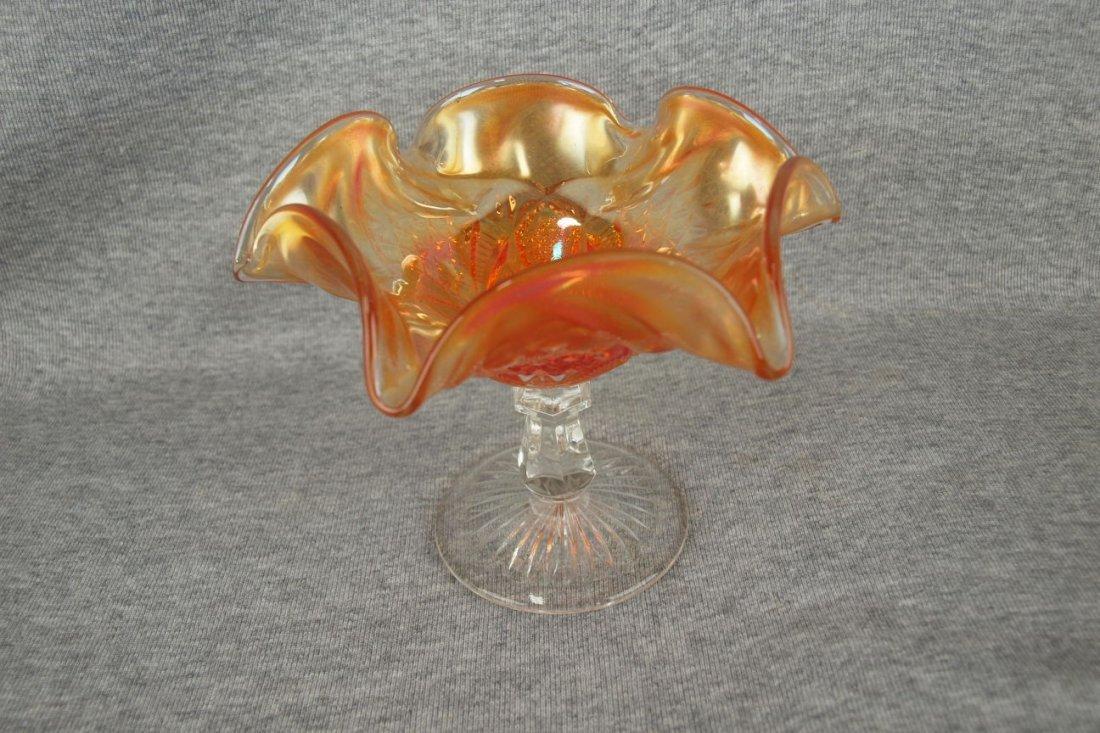 Carnival glass marigold compote