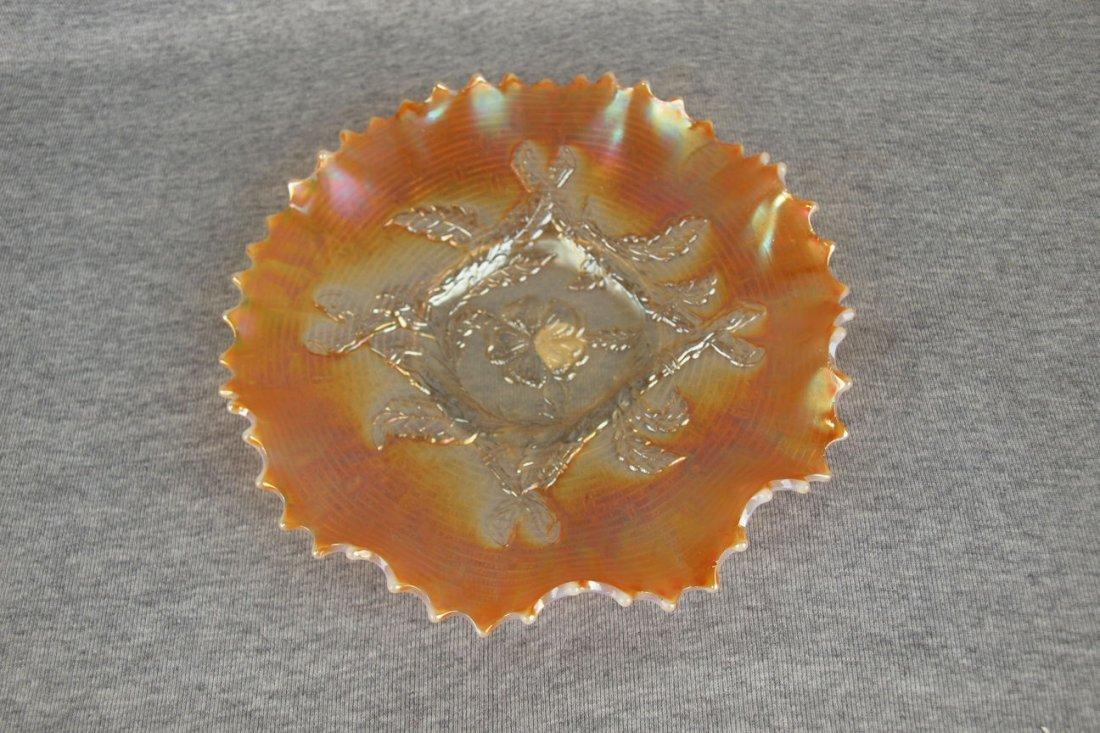 Dugan peach opalescent carnival glass apple blossom and