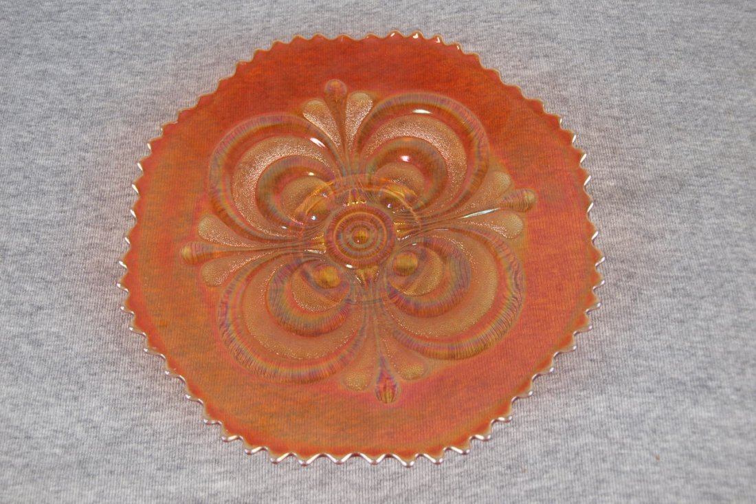 Imperial marigold carnival glass embossed scroll plate,