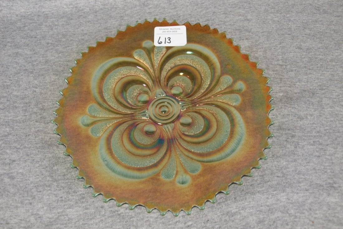 """Imperial green carnival glass embossed scroll plate, 9"""""""