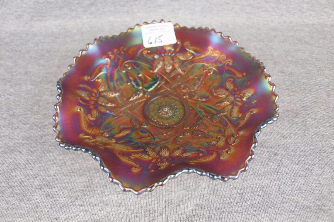 Northwood amethyst carnival glass wishbone footed bowl