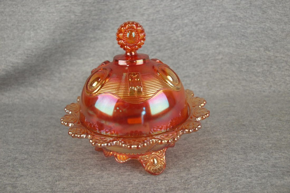 Imperial marigold carnival glass Dewey covered butter