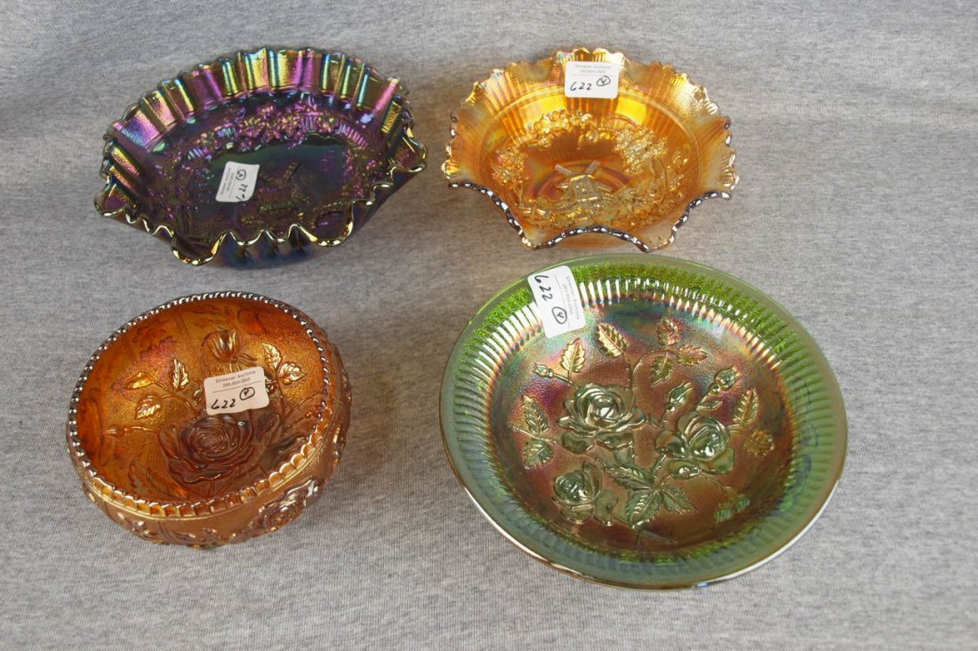 Imperial carnival glass lotof 4 bowls - 2 open rose and