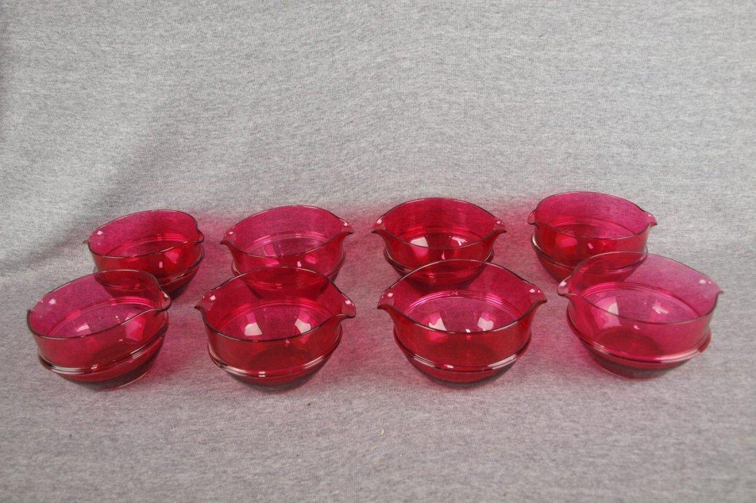 "Set of 8 cranberry wine rinsers, circa 1835, 4 1/2""d"