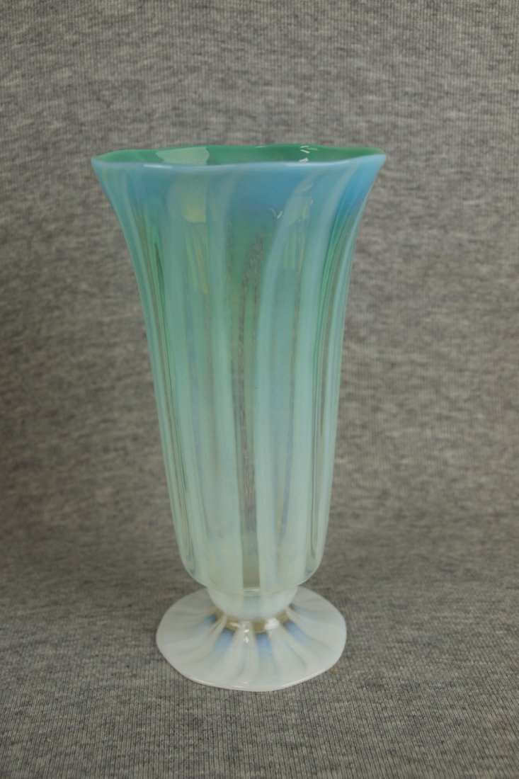 Tiffany Fraville Glass Works art glass vase with paper
