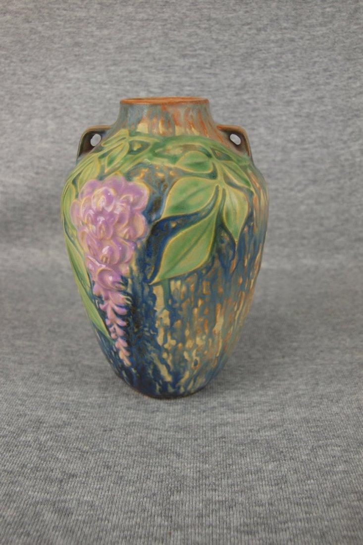 """Roseville Wisteria vase, 6"""", paper label"""