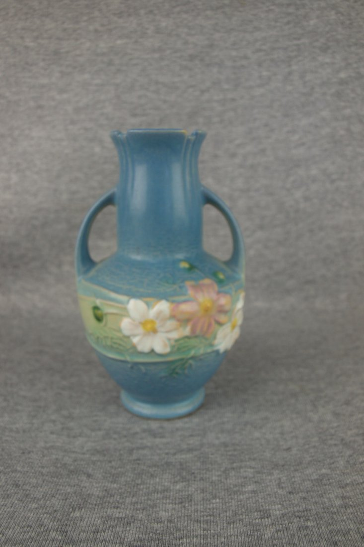 "Roseville blue Cosmos vase, 6"""