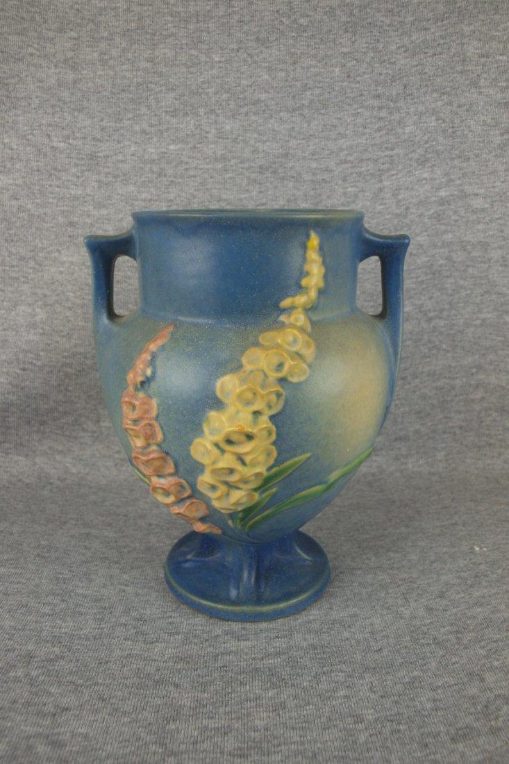 """Roseville blue Foxglove vase, 162-8"""""""
