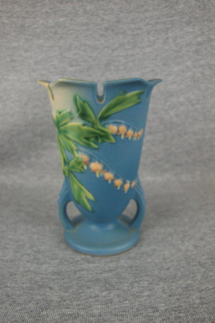 """Roseville blue Bleeding Heart vase, 964-6"""""""