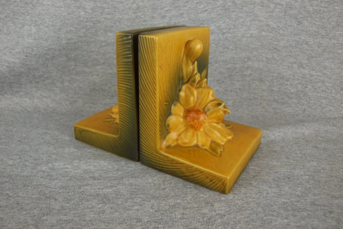 Roseville yellow Peony pair of bookends, 11