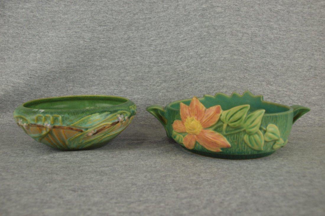 "Roseville green Laurel bowl, 6 1/2"" and green Clematis"