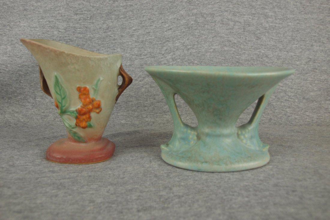 Roseville gray Bittersweet vase, 872-5 and gray Tuscany