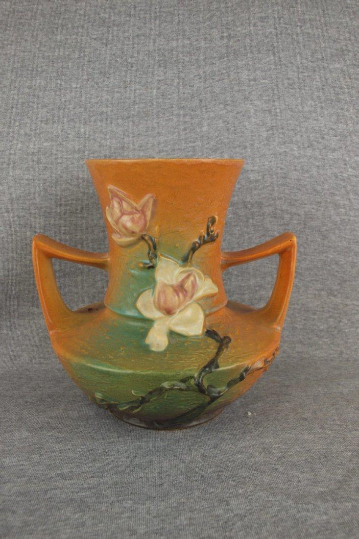 Roseville brown Magnolia vase, 93-9, base nick
