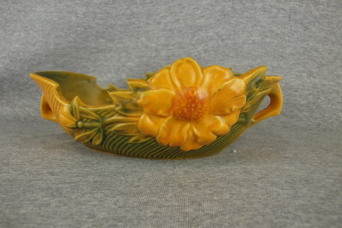 Roseville yellow Peony console bowl, 430-10
