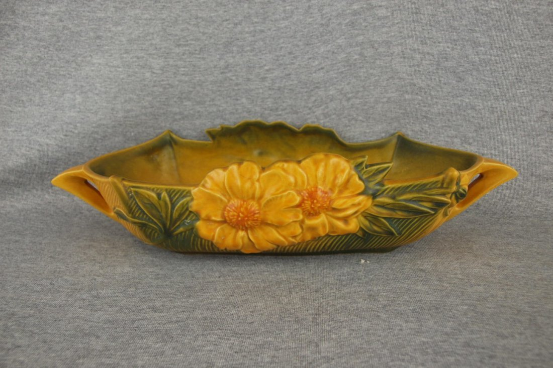 Roseville yellow Peony console bowl, 433-14