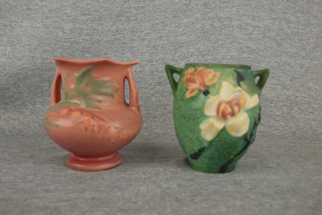 Roseville pink Bleeding Heart vase 138-4 and green