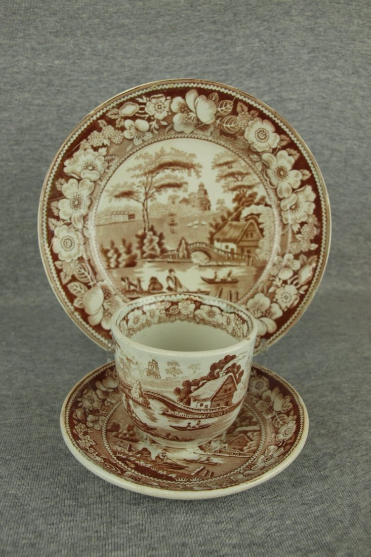 """Brown transferware Wild Rose set of 6-8 3/4"""" plates and"""
