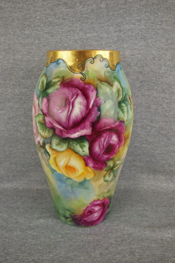 """French Limoges vase with roses, 12 1/2"""""""