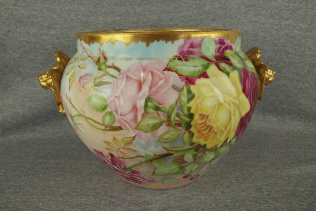 French Limoges large jardiniere with roses, griffin