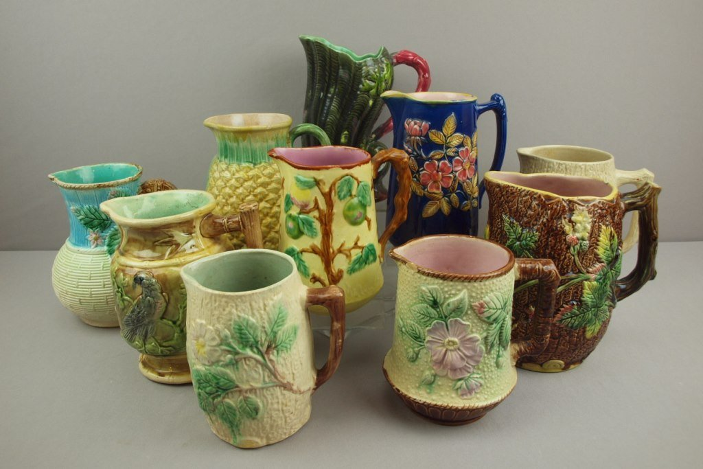 """Majolica lot of 10 pitchers, 8"""" average, various"""