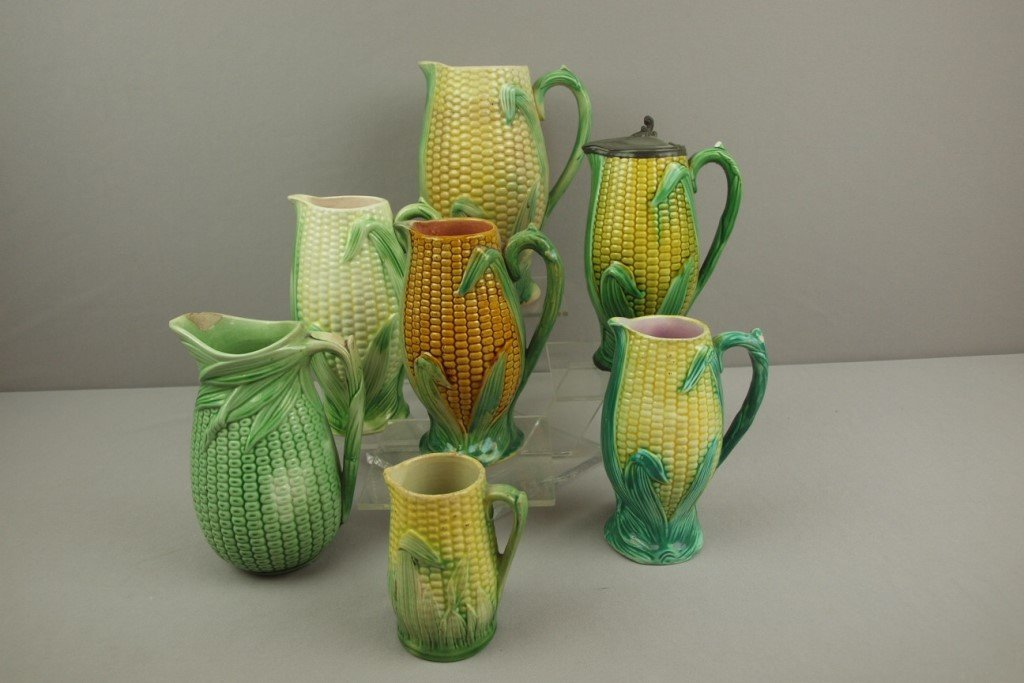 Majolica lot of 7 corn pitchers, various condition