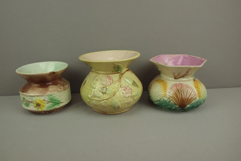 Majolica lot of 3 spittoons, various condition
