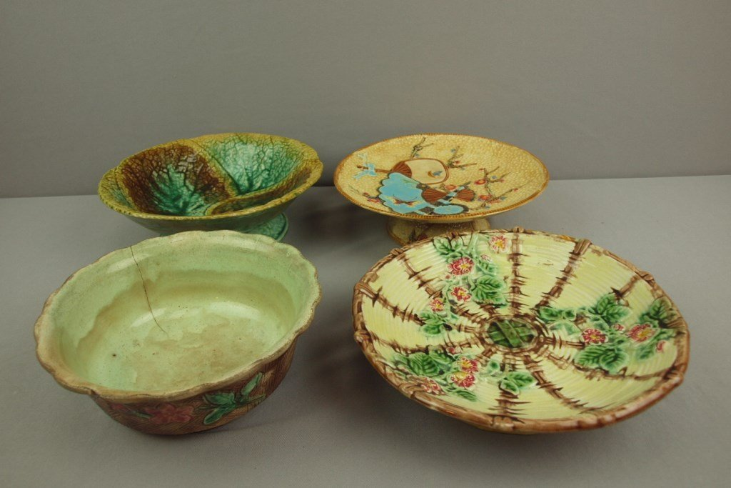 Majolica lot of 4 bowls and compotes, various condition