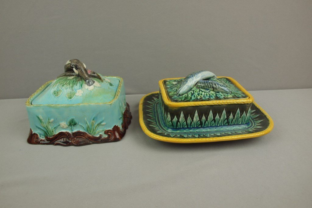 Majolica lot of 2 sardine boxes, various condition