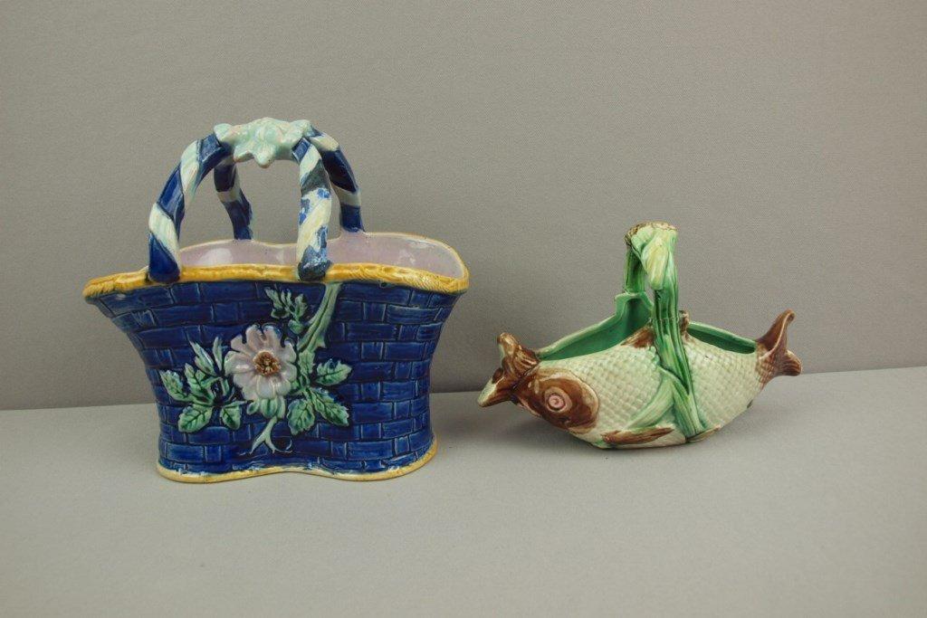 Majolica lot of 2 baskets, both with handle repair