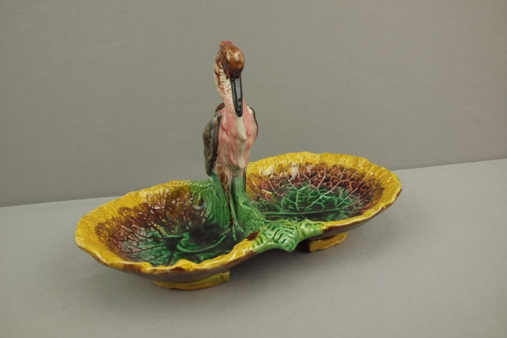 Majolica begonia leaf two part server with stork