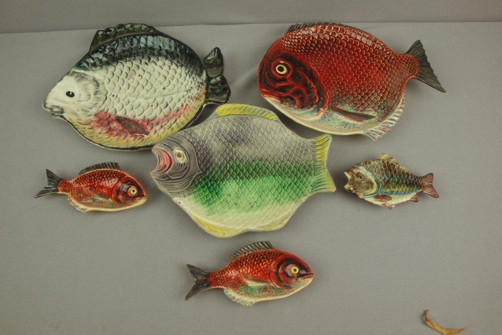 Majolica lot of 6 fish trays, various condition