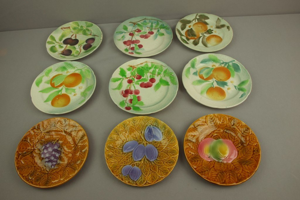 St. Clement set of 6 majolica fruit plates and set of 3