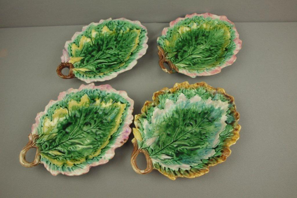 ETRUSCAN majolica lot of 4 oak leaf trays, various