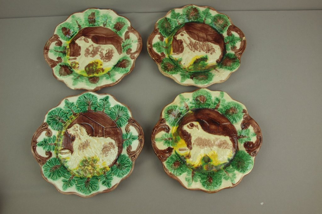 """Majolica lot of 4 dog and doghouse platters, 11"""","""