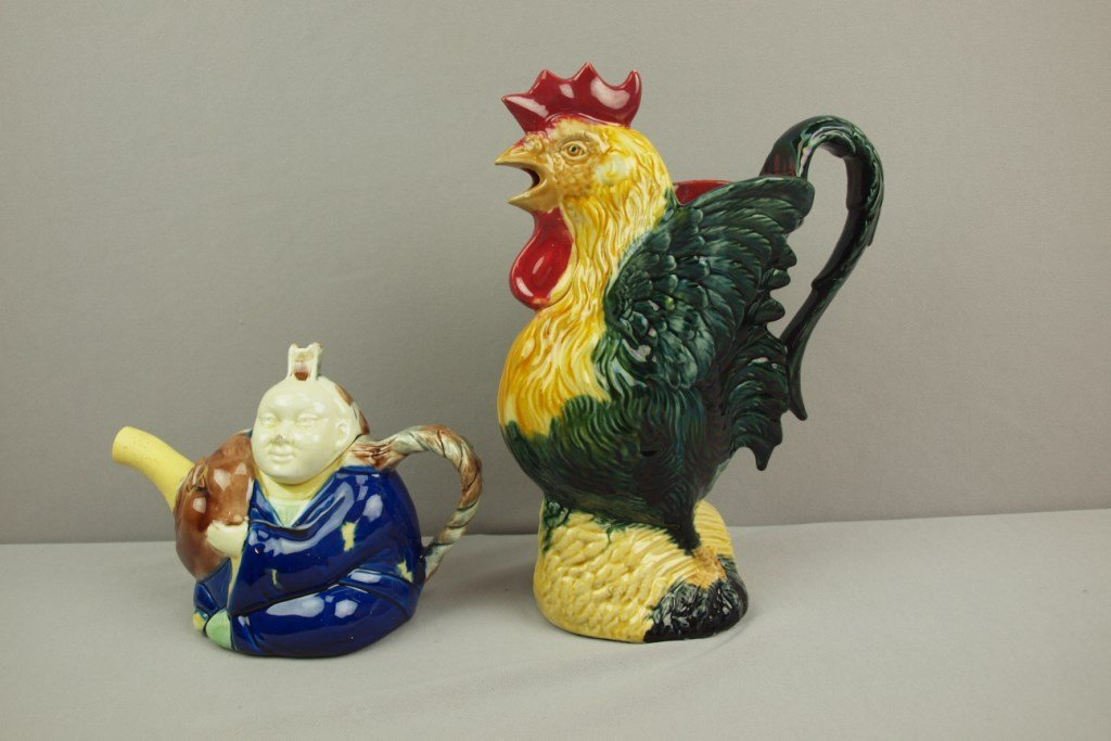 French majolica rooster pitcher, Orchies, hairline and