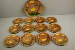 Villeroy  Boch majolica water lily dessert set with 11