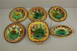 Choisy French majolica dessert set with leaf and fern