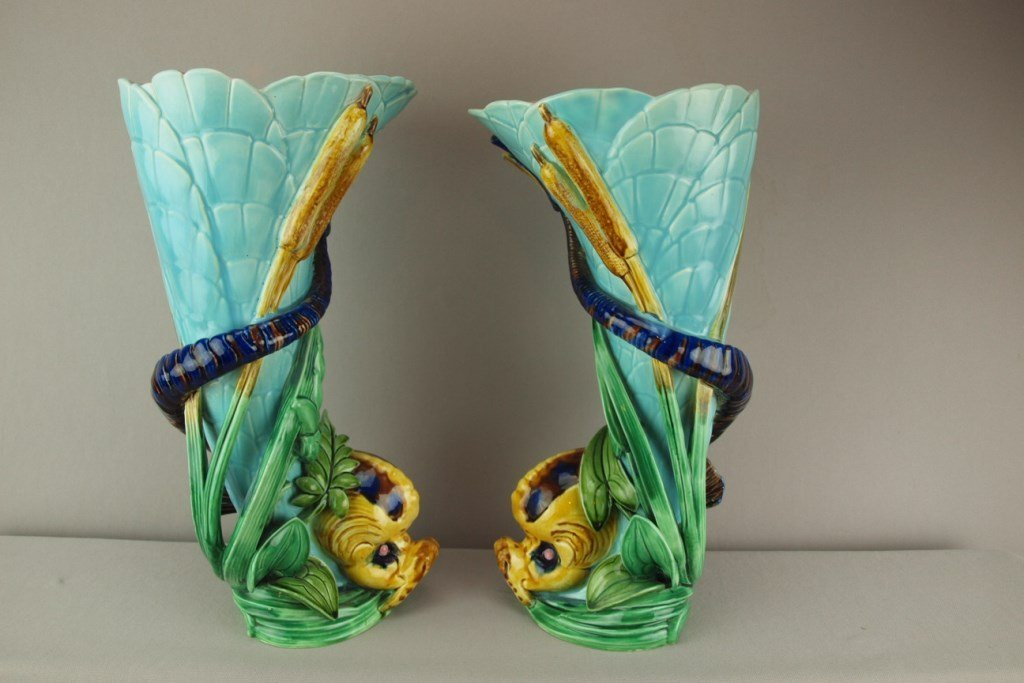 SARREGUEMINES majolica pair of dolphin and cattail