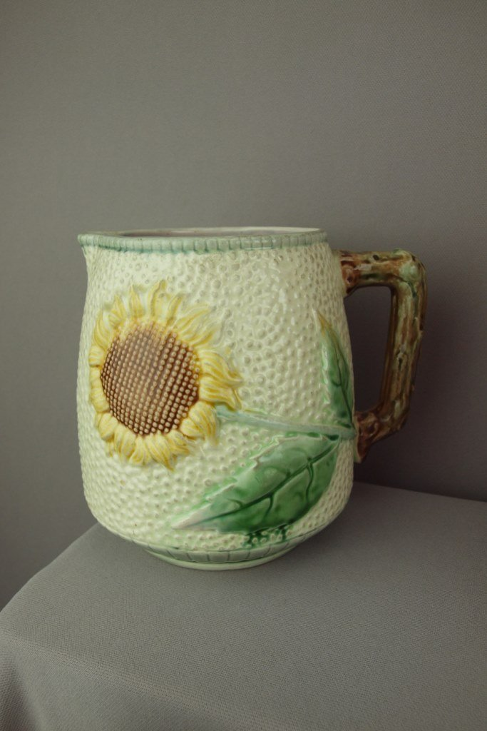 ETRUSCAN majolica sunflower pitcher with white ground,