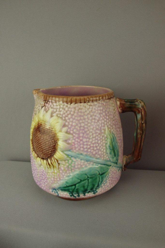 "ETRUSCAN rare majolica pink sunflower pitcher, 7"","