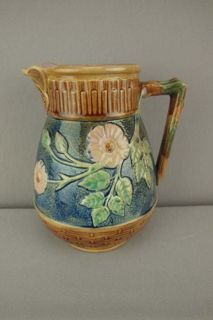 ETRUSCAN majolica wildrose pitcher with butterfly
