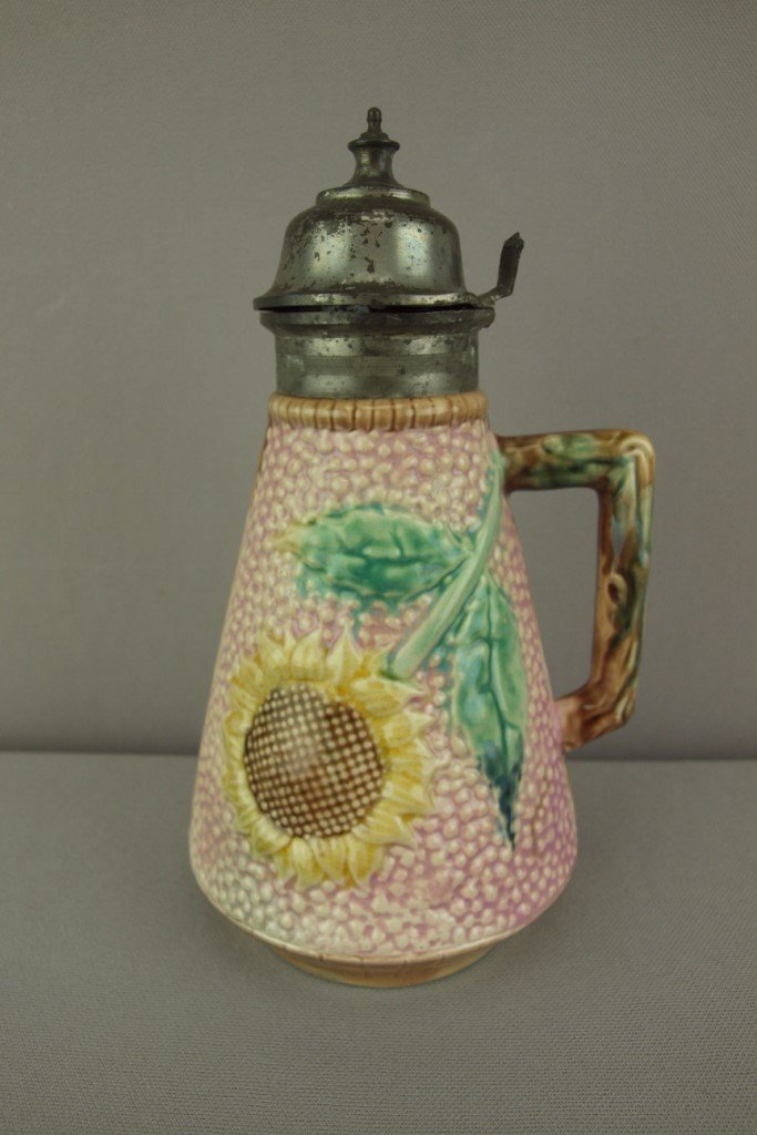 """ETRUSCAN majolica pink sunflower syrup pitcher, 8"""""""